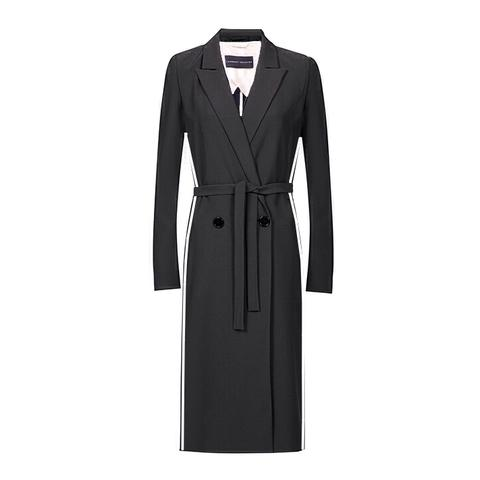 wrap coat velvet sidestripes